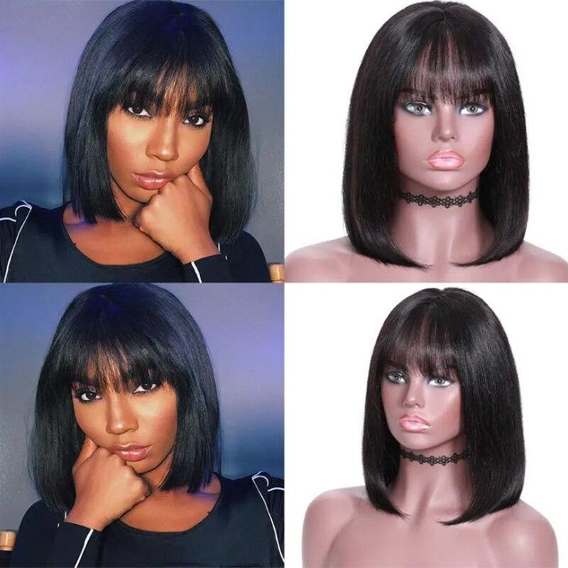 SOKU Short Bob Human Hair Wigs With Bangs Brazilian Staright Cheap Human Wigs For Black Women Natural Color Short Cut Wig