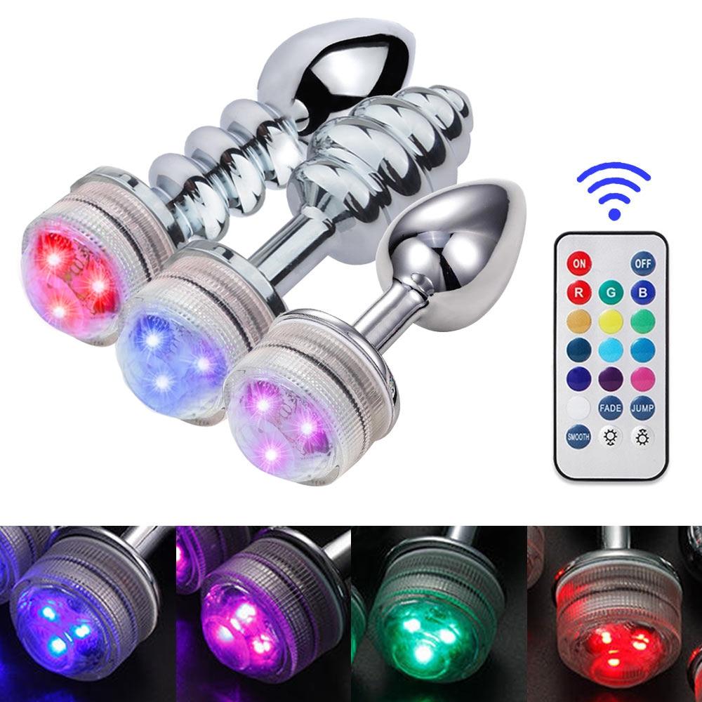 Consolador tapón Anal de Metal con Control remoto para hombre y mujer, juguete sexual con luz LED, masajeador de próstata, consolador tapón