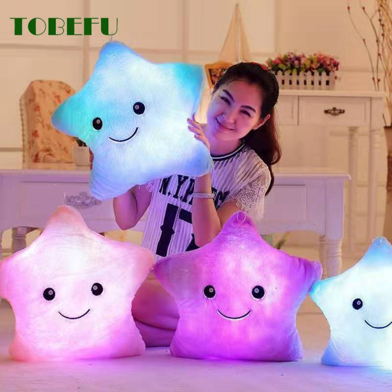 34CM Glowing Colorful Stars Cushion Led Light Toys Creative Toy Luminous Pillow Soft Stuffed Plush Gift For Kids Children Girls