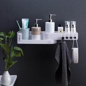 Image 3 - Bathroom Corner Shelf Shower Shampoo Organizer Rotatable Without Drilling With 4 Hooks For Bathroom Basket Kitchen Storage