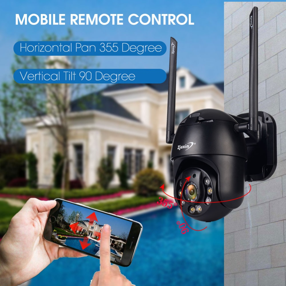 Ha4c81d3bf575460ab97056bb1817016cy Zjuxin PTZ IP Camera WiFi HD1080P Wireless Wired PTZ Outdoor CCTV Security Camra Double light human detection AI cloud camera
