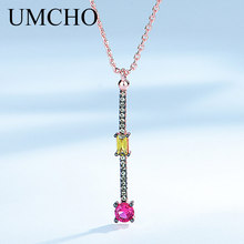 UMCHO Created Nano Citrine Ruby Pendant Necklaces Solid 925 Sterling Silver Necklace For Women Office Jewelry High Quality jewelrypalace luxury pear cut 7 4ct created emerald solid 925 sterling silver pendant necklace 45cm chain for women 2018 hot
