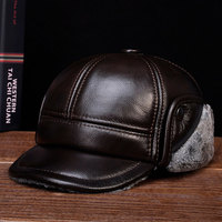 HL104 new style winter warm Russian genuine leather caps hats Men's real cow leather baseball cap hat