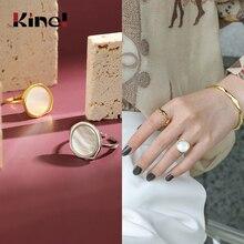 Kinel 18K Gold 925 Sterling Silver Ring Vintage Shell bague Adjustable Finger Simple Punk Jewelry