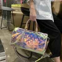 Роскошная 2020 Новая прозрачная спортивная сумка с принтом большой вместимости короткая дистанционная Лазерная дорожная сумка 50 см