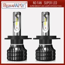 BraveWay LED Bulb for Auto Led Ice Bulb H4 H7 H11 Led Headlight 9005 9006 hb3 hb4 Headlamp 12000LM 6500K 50W 12V Car Light(LED)