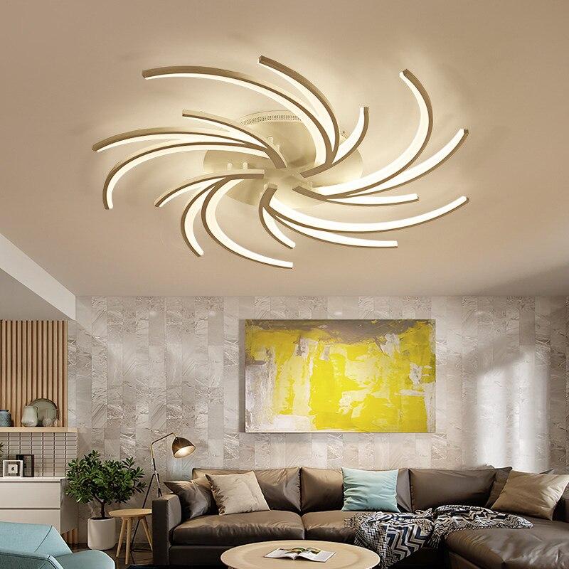 Светодиодная потолочная лампа, Современная креативная белая люстра с регулируемой яркостью для спальни, гостиной, кухни, домашний декор, ос...