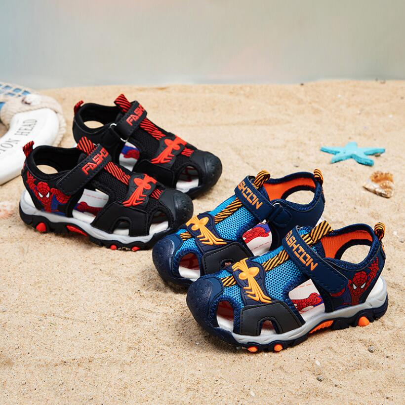 Summer Kids Shoes Brand Closed Toe Toddler Soft Boys Spiderman Sandals Orthopedic Sport Leather Baby Boys Beach Sandals Shoes