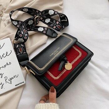 Contrast Color Leather Crossbody Bags for Women Travel Handbag Shoulder Women Bag Simple Shoulder Messenger Bag CrossBody Bag
