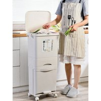 38L/42L Large Double Layers Garbage Cans Kitchen Vertical Waste Sorting Bins with Wheel Garbage Bag Holder Recyclable Storage