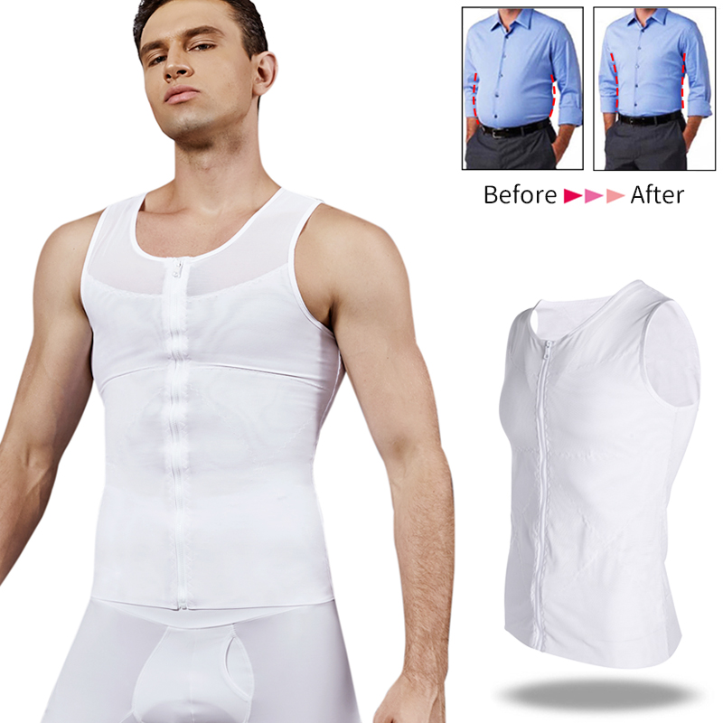 Men Slimming Body Shaper Gynecomastia Compression Shirts Tummy Control Shapewear Waist Trainer Belly Abdomen Shapers Mens Corset