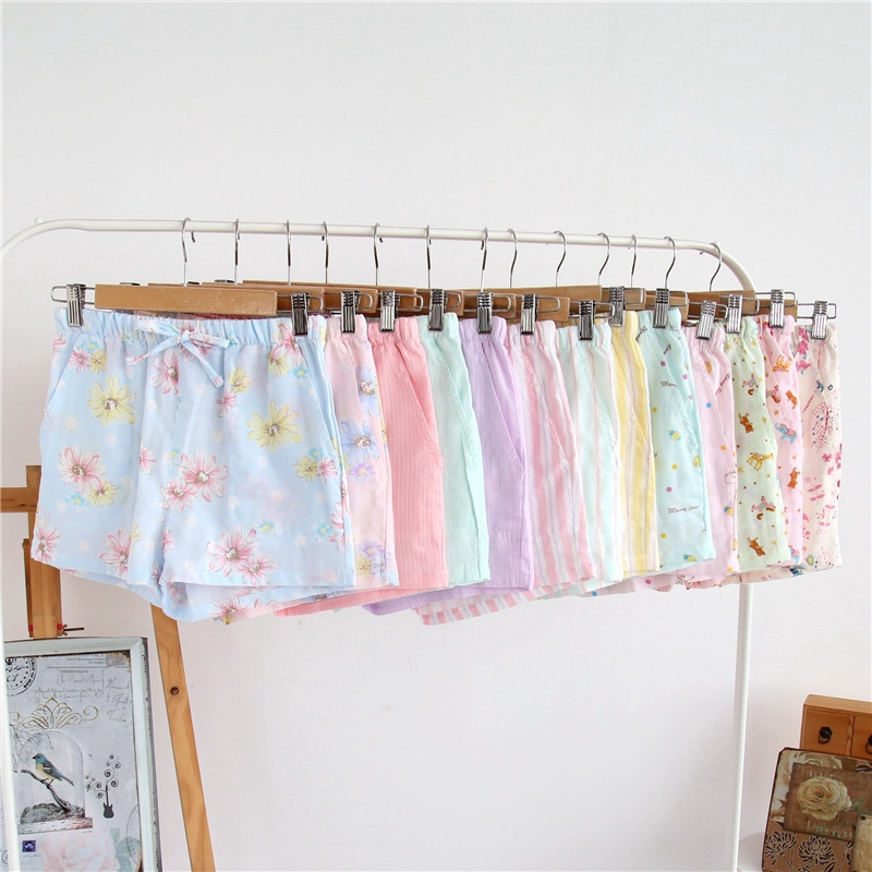 Cotton Home Three-point Shorts Women's Cotton Double Gauze Breathable Fresh Floral Home Pajamas Thin Cotton