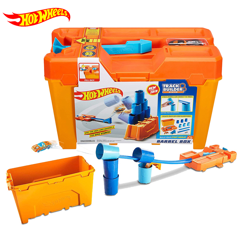 Original Hot Wheels Race Car New Round Cup Tool Model Challenge Track Suit Ejection Tracks Builder Barrel Box Toys for Boys Gift