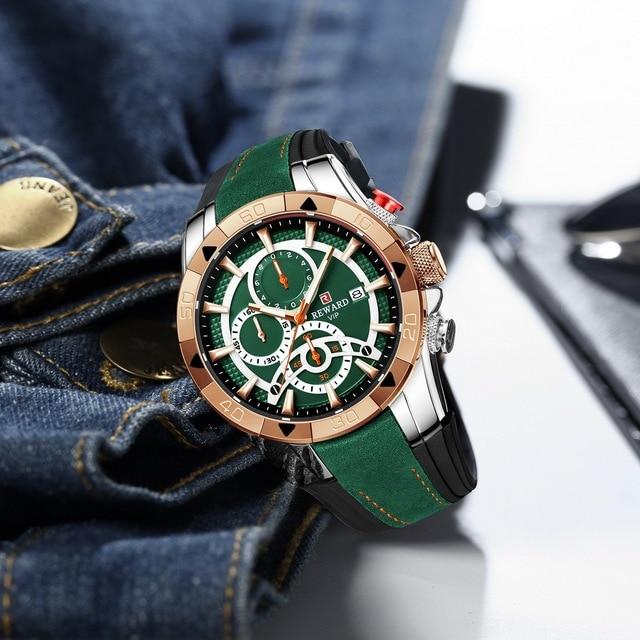 REWARD Men Quartz Watches Business Dress Waterproof Wristwatch Men Luxury silicone Sports watch men Gifts Montre homme 5