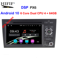 free shipping IPS PX6 Android 10 2 din Capacitive screen Car DVD for Audi A4 B6 B7 S4 car radio gps navigation stereo headunit