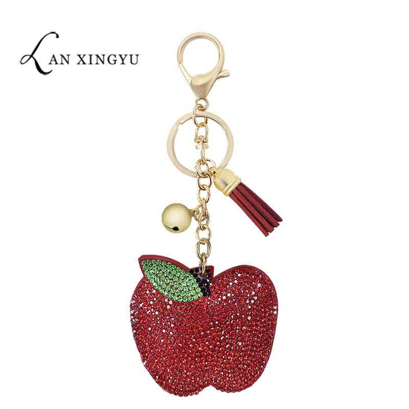 Factory Direct Korean Fleece Multicolor Apple Keychain Pendant Girls Bag Tassel Ornaments Fruit Jewelry