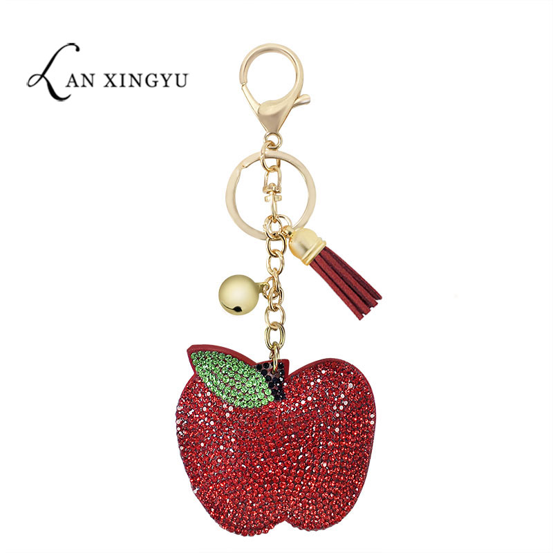 Factory Direct Korean Fleece Multicolor Apple Keychain Pendant Girls Bag Tassel Ornaments Fruit Jewelry