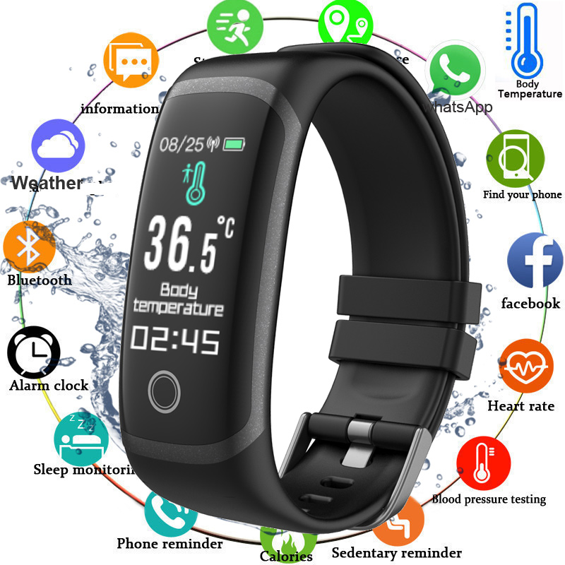 2020 Body Temperature Smart Fitness Bracelet Sport Smart Band Watch Ip67 Waterproof Pedometer Fitness Tracker Blood Pressure