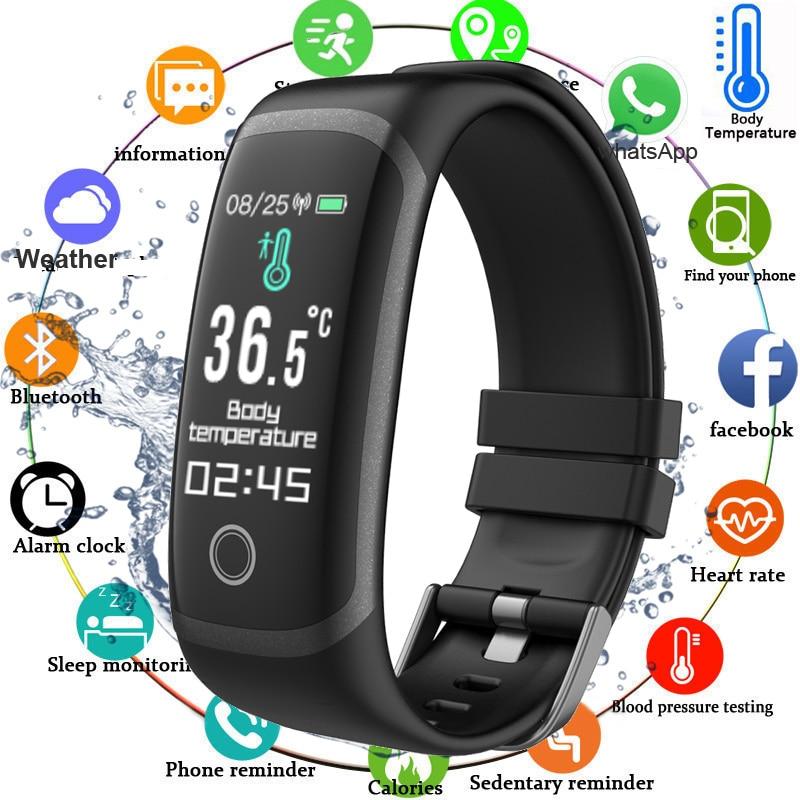 2020 Body Temperature Smart Fitness Bracelet Sport Smart Band Watch Ip67 Waterproof Pedometer Fitness Tracker Blood Pressure|Smart Wristbands|   - AliExpress