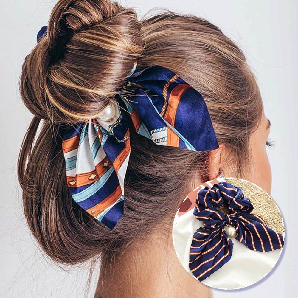 MINHIN Multitype Fashion Chiffon Bowknot Silk Hair Scrunchies Women Pearl Ponytail Hair Accessories Hair Tie Rope Rubber Band