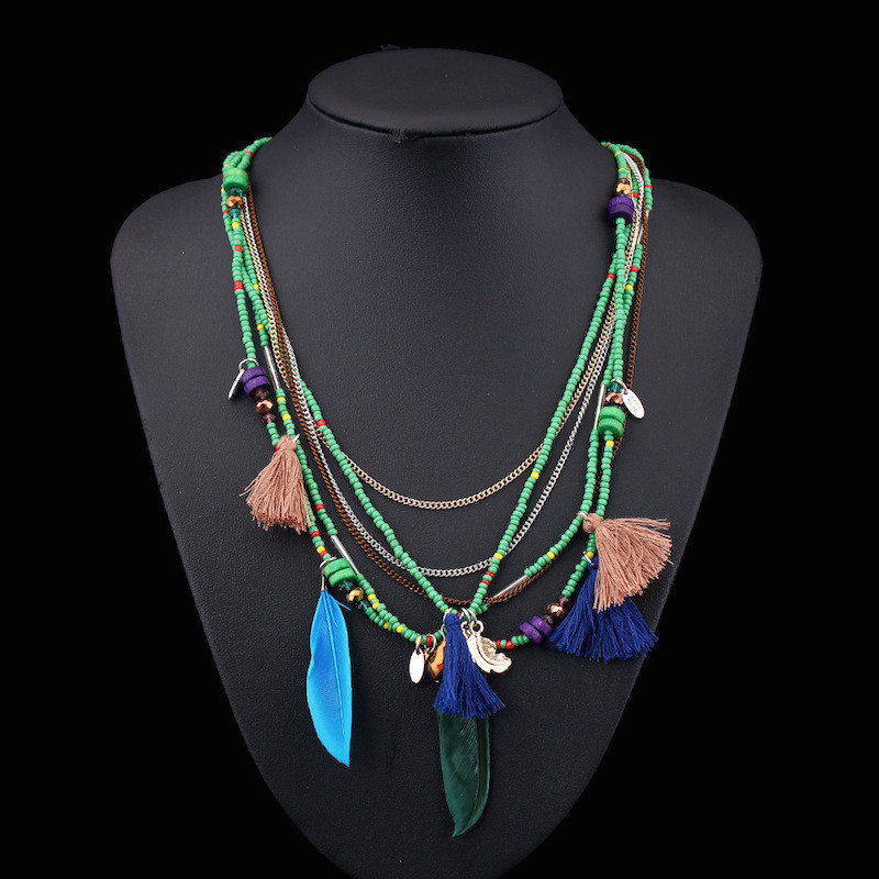 Layered Boho Necklaces Women Ladies Handmade Multi-Layer Beaded Chain Bohemian Tassel Feather Pendant Necklace
