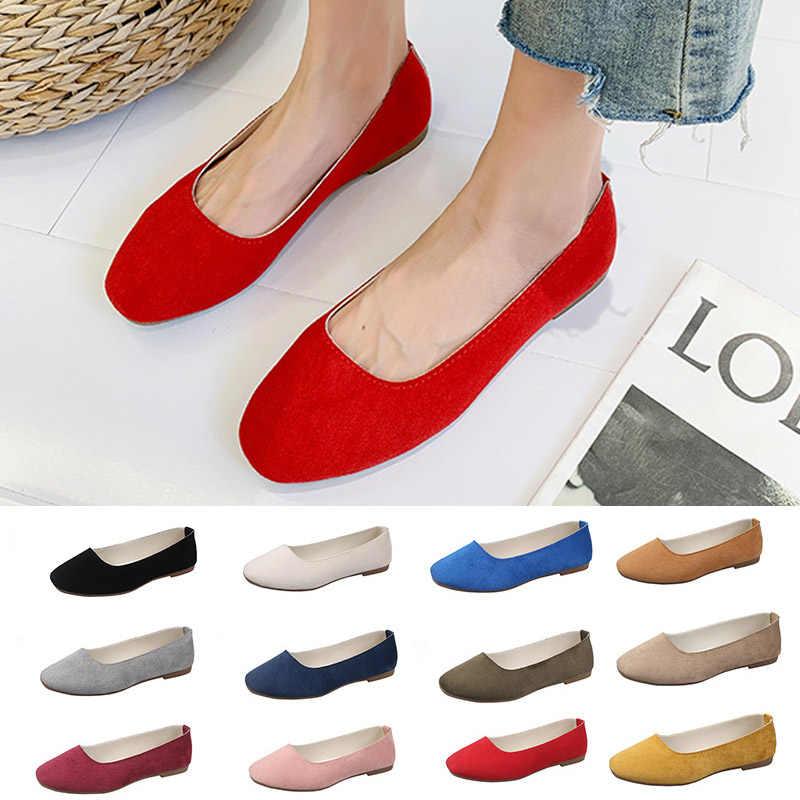 בתוספת גודל 43 צבעים בוהקים נשים דירות כיכר הבוהן להחליק על נעלי אישה מזדמנים סירת נעלי גבירותיי בלט דירות Zapatos mujer