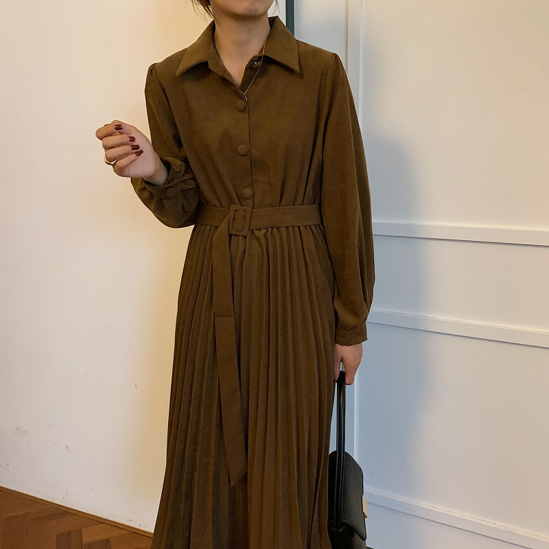 Ha4c97c4e099f40f6af9ee8ba38ae7b467 - Autumn Turn-Down Collar Long Sleeves Pleated Solid Midi Dress