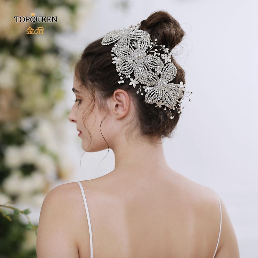 TOPQUEEN Flower Wedding Crown Hair Tiara Wedding Headband For Bridal Luxury Bridal Hair Accessories Bridal Hair Vines HP252