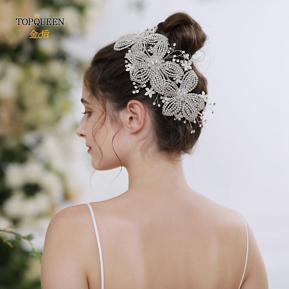 TOPQUEEN HP252 Flower Hair Clip Combs Hair Tiara Wedding Headband For Bridal Luxury Bridal Hair Accessories Bridal Hair Vines
