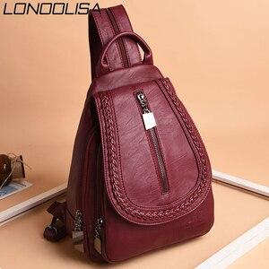 Image 2 - Kadın deri sırt çantaları yüksek kaliteli kadın sırt çantası göğüs çantası rahat günlük çanta kese Dos bayanlar sırt çantası seyahat okul sırt paketi