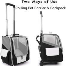 Carrier Backpack Pet-Cat-Trolley Case Outdoor Breathable Wheeling Mesh Fully-Ventilated