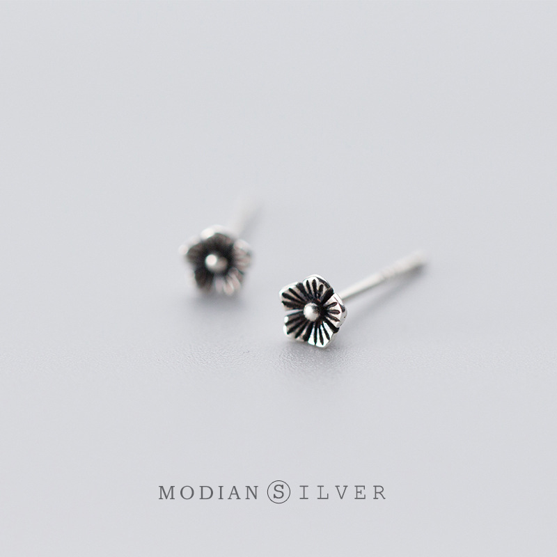 Modian Small Vintage Silver Stud Earrings for Women 925 Sterling Silver Studs Ear Fine Jewelry Accessories Prevent allergy