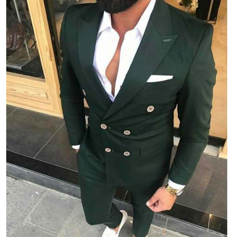Groom Slim Tuxedos Fit Wedding Set Costumes With 2 Breasted Jacket Male For Double Prom Fashion Piece Men Pants Suits Custom