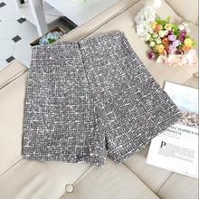 A-line High Waist plaid wool Short Pants SF