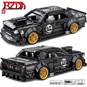BZDA Mustanged Pull back Technic Car Series Car Building Blocks Speed Racing Bricks Model Car Kids Toys Christmas Gifts DIY