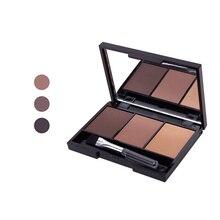 Профессиональная палитра пудры для бровей, 3 цвета, Косметический Водонепроницаемый инструмент для макияжа с кисточкой и зеркалом hh88