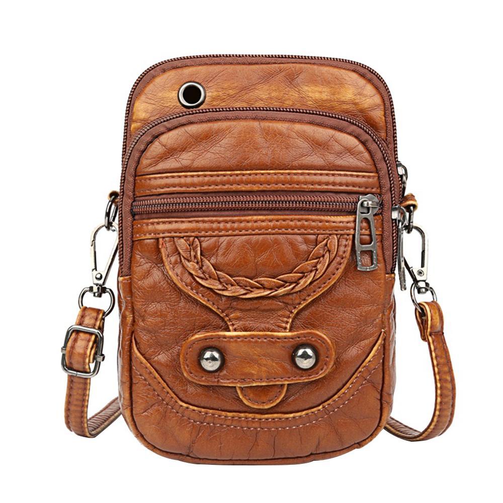 Retro PU Leather Shoulder Bag Women Solid Color Purse Ladies Travel Phone Pouch Classic Elegant Crossbody Shoulder Bag