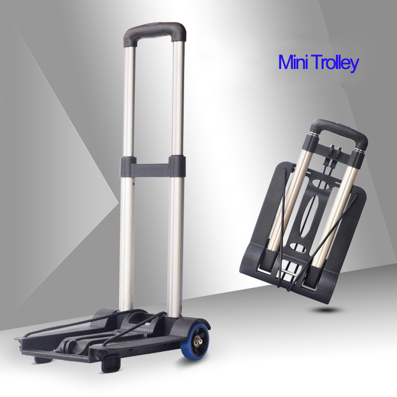 1.3kg Mini Folding Portable Trolley Rolling Shopping Carts And Luggage Carts For The Elderly And Women Family Travel Shopping