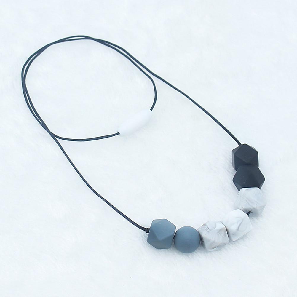 Кулон из пищевого силикона, ожерелье для прорезывания зубов, шестигранные силиконовые бусины, ожерелье для прорезывателя для ухода за ребе...