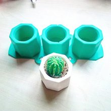 Pot Mold Casting Concrete Plaster Mold Silicone Cup Mould Supplies Ceramic Clay Craft 3 Holes Cactus Flower Concrete Molds, DFT(China)