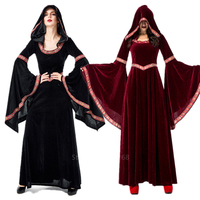 Halloween Black Witch Cosplay Costume for Adult Women Victoria Medieval Carnival Wizard Robe Scary Vampire Clothing