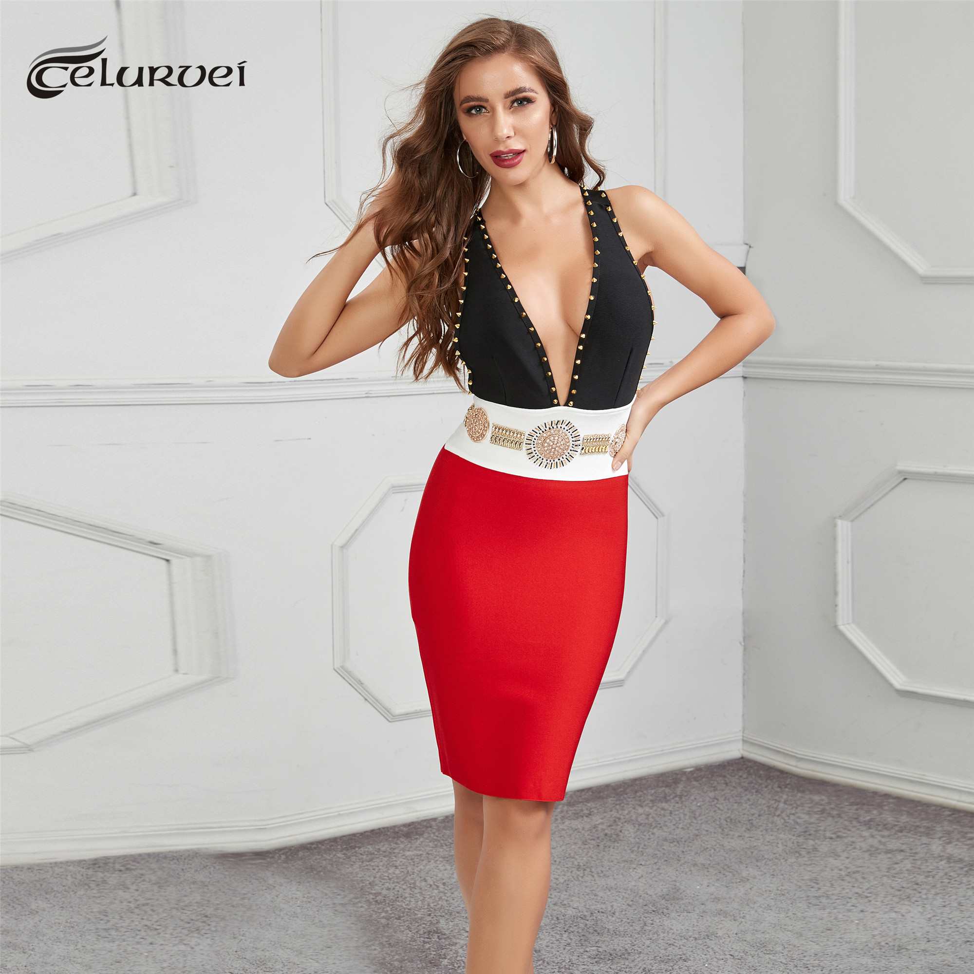 Haute qualité noir rouge géométrique genou longueur mantuelle perles rayonne Bandage robe robe de soirée