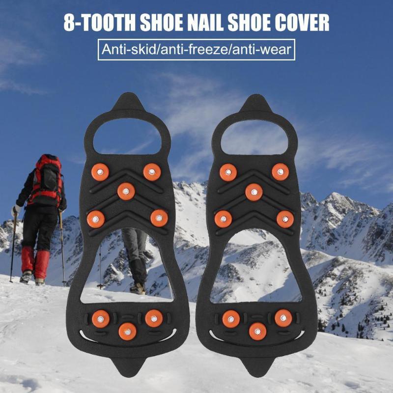 Hot Sale Fishing Lock Buckle Easy to Carry 8 Studs Ice Snow Shoe Spiked Grips Cleat Crampons Climbing Anti Slip Shoes Cover