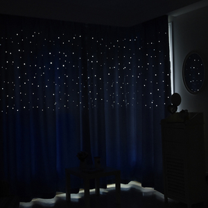 Image 4 - MAKEHOME Hollow Stars Blackout Curtains for Kids Bedroom Living Room Three Layers Fabrics Window Curtains Home Decor Stars Tulle