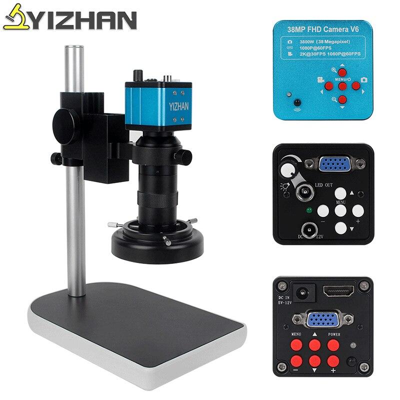 Full HD 38MP Digital Microscope For Electronics Vga Hdmi Usb Microscope Camera Soldering Electron Microscope 130x Lens LED Light