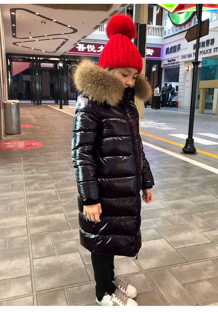 Kurtka zimowa z futra lisa dla dziewczynek-30 stopni ciepła ocieplana kurtka dla dzieci 2-12 lat płaszcz młodzieżowy Baby Boy Girl Clothes