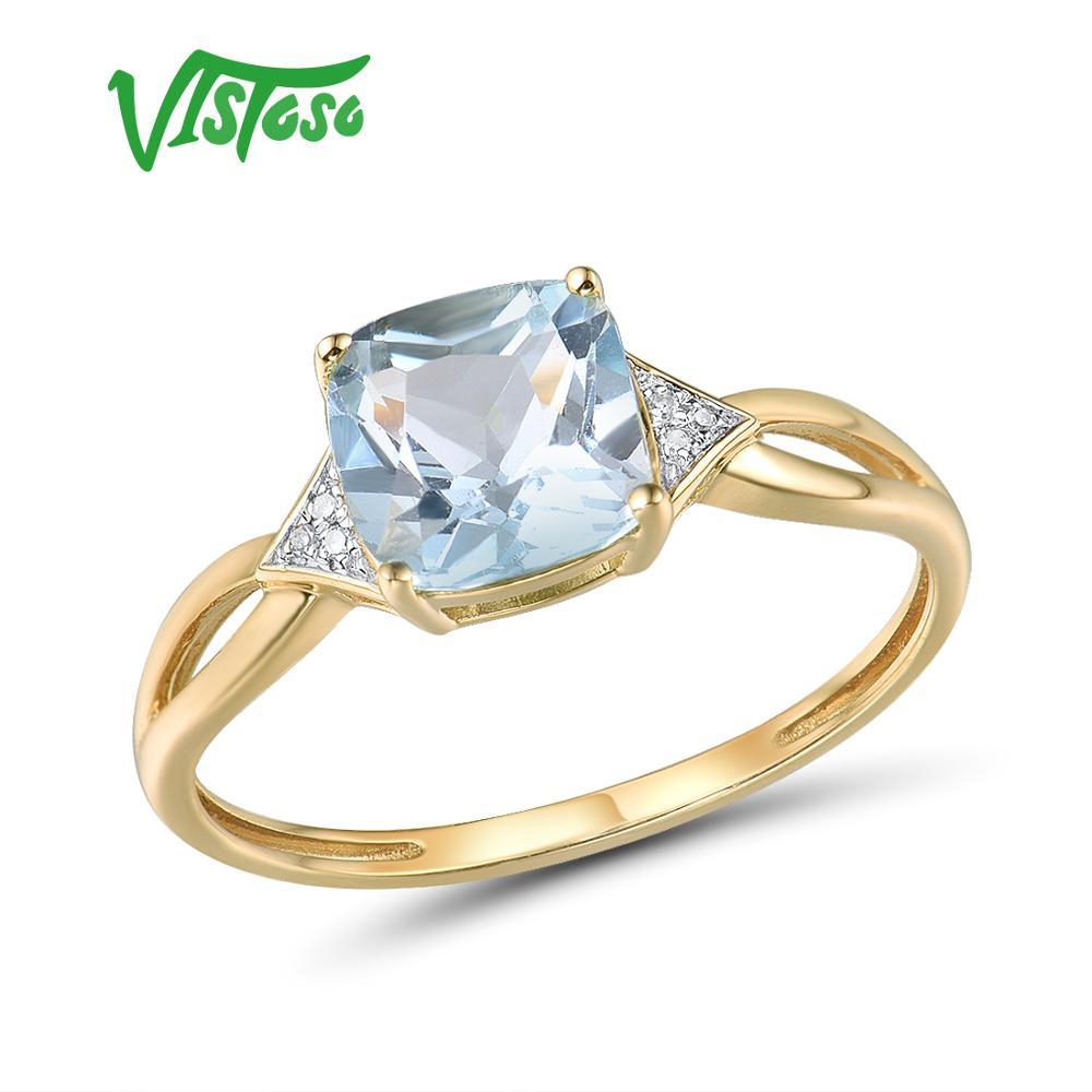 VISTOSO Pure14K 585 Yellow Gold Ring For Women Sparkling Diamond Limpid Blue Topaz Anniversary Classic Fine Jewelry