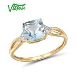 VISTOSO Pure14K 585 sarı altın yüzük kadınlar için köpüklü elmas Limpid mavi Topaz yıldönümü klasik güzel takı