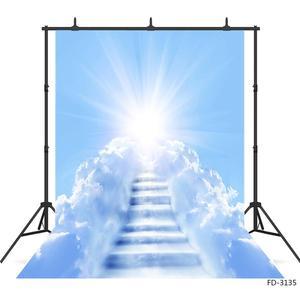 Image 1 - Słońce błękitne niebo biała chmura drabina fotografia tło Vinyl zdjęcie tła Studio dla dzieci portret dziecka sesja zdjęciowa