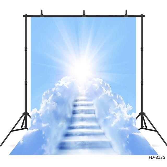 Słońce błękitne niebo biała chmura drabina fotografia tło Vinyl zdjęcie tła Studio dla dzieci portret dziecka sesja zdjęciowa